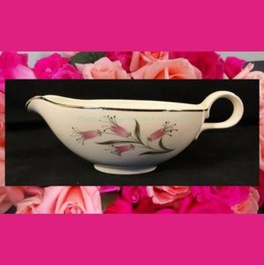 Homer Laughlin Pink Flowers Gravy Boat